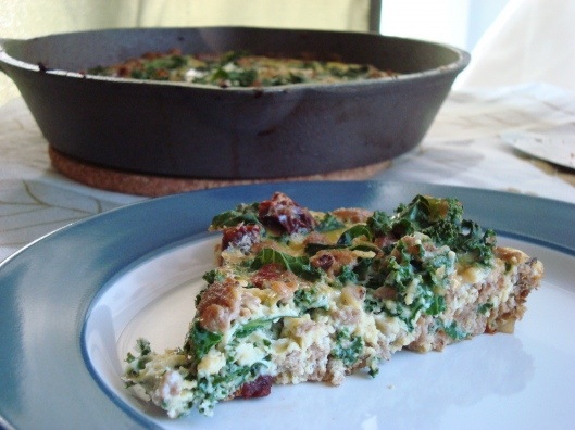 Turkey and Kale Frittata with Fire Roasted Red Pepper
