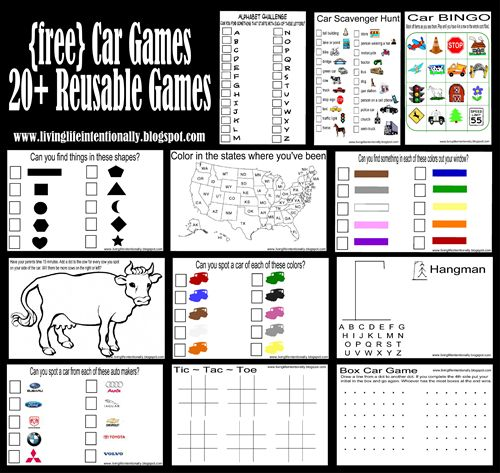 20+ {free} Reusable Car Games