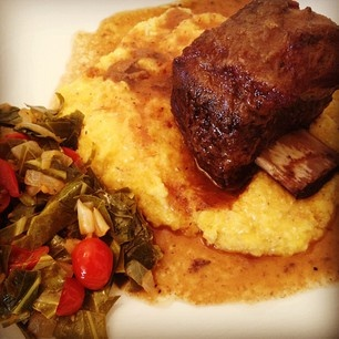 Coffee Braised Short Ribs, Polenta, Collards and Tomatoes. A tasty ...