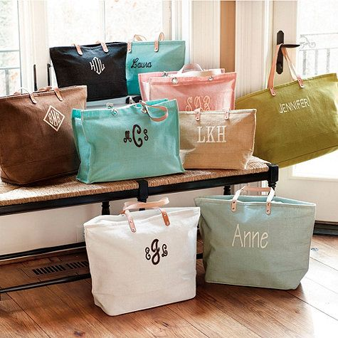 Who doesn't love the perfect personalized gift? These go-anywhere natural jute tote bags come with a monogram option.