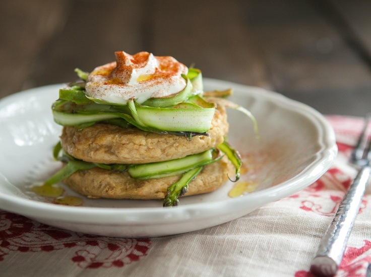 Chickpea Cakes with Shaved Asparagus and Yogurt by Naturally Ella