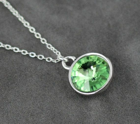 Peridot necklace august birthstone necklace silver pale green crys