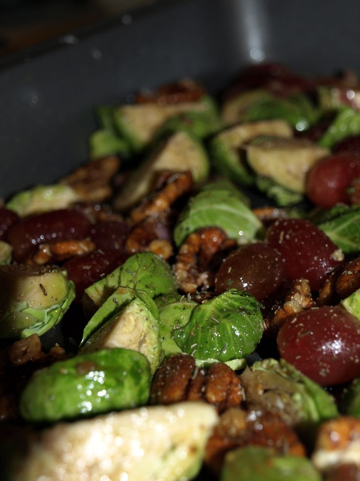 ... & Simple: Balsamic Roasted Brussel Sprouts with Red Grapes & Pecans
