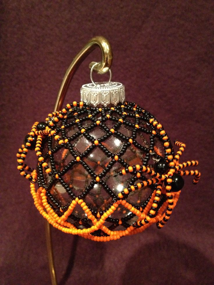 Beaded Black and Orange Spider Ornament