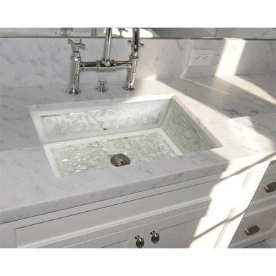 Floral Bathroom Sinks : Linkasink Floral Mother of Pearl Inlay Undermount Bathroom Sink