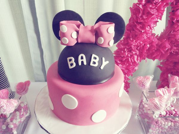 minnie mouse baby shower cake