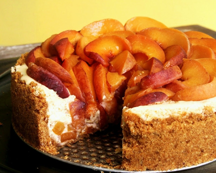 Bourbon-Roasted Peach Cheesecake recipe | Food | Pinterest