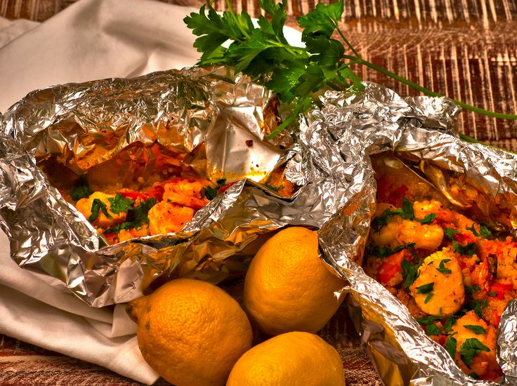 Grilled Seafood Paella Packets | FOOD | Pinterest