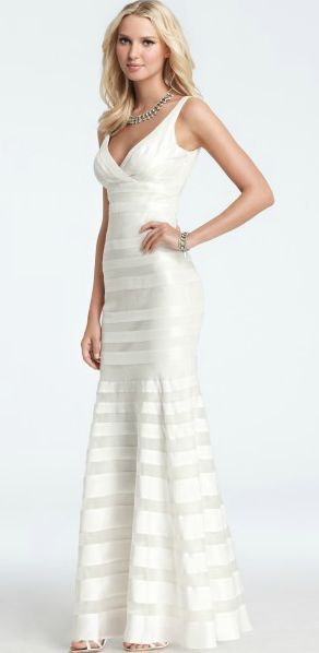Revel Striped Georgette Wedding Dress Happily Ever