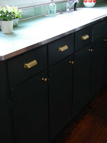 Dark green cabinets with brass hardware home inspiration for Brass hardware for kitchen cabinets