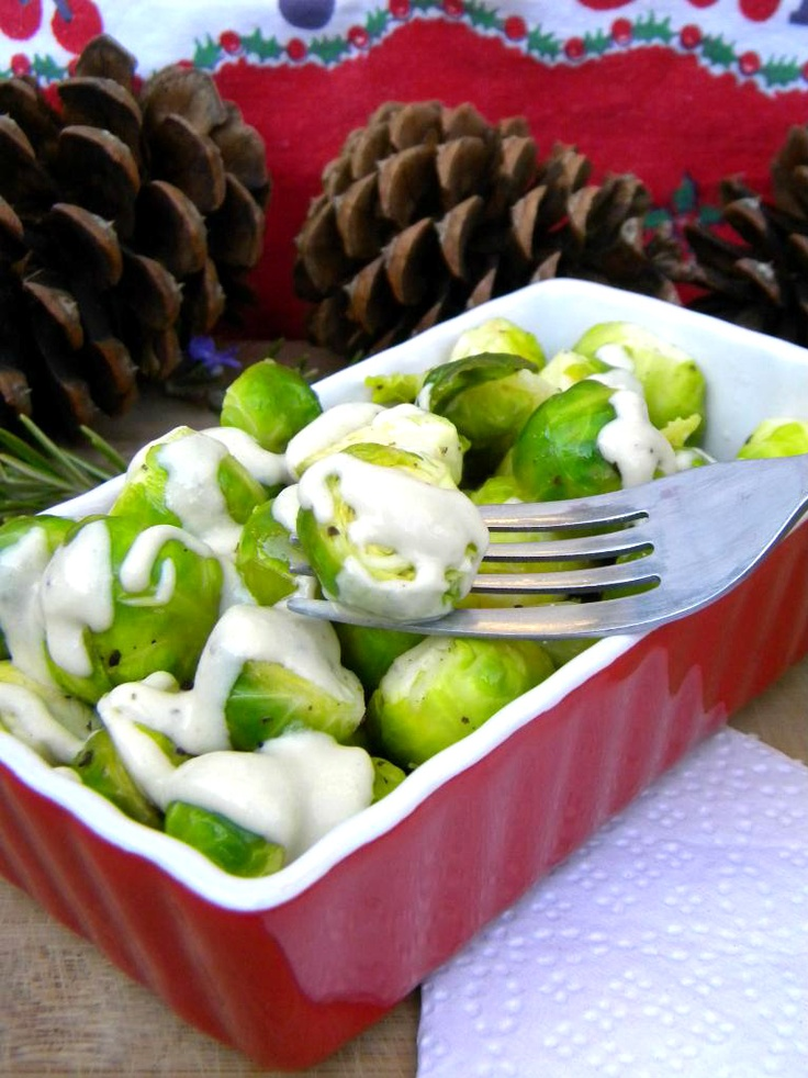 Warm & Tender Brussels Sprouts with Mustard Cream Sauce (Raw & Vegan)