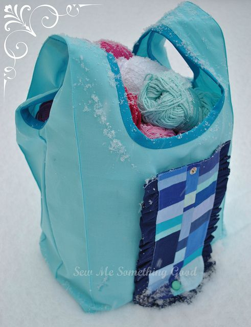 Blue Patchwork Fold'n Roll Shopping Bag filled | Flickr - Photo Sharing!