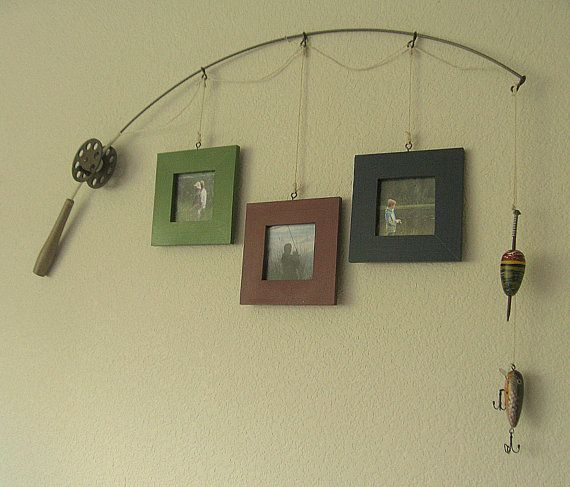Fishing pole picture frame metal brown 3 frames for Fishing picture frame