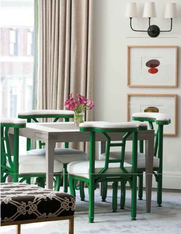 Emerald chairs pop out of the neutral colour scheme #emerald #chairs #pantone Blogged on // Kristen Ellis Design. Link http://kristenellisdesign.blogspot.com/