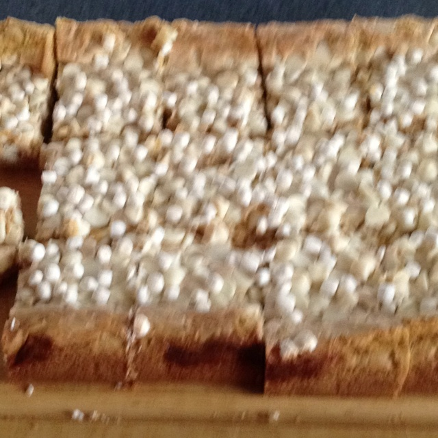 Gooey white chocolate fluffernutter cake bars