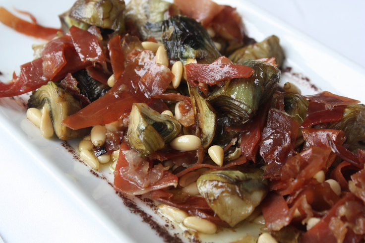 Sauteéd Baby Artichokes with Spanish Ham and Pine nuts....simple but ...