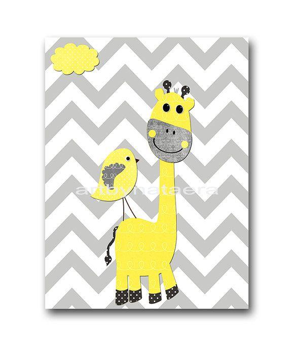 "Giraffe Elephant Baby Boy Nursery art print Children Wall Art Baby Room Decor Kids Print set of 3 11"" x 14"" birds yellow gray"