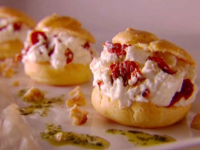 Goat Cheese and Sun Dried Tomato Profiteroles with Herb Oil from ...