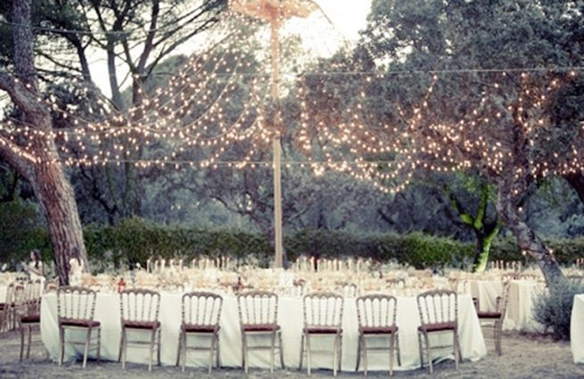 Twinkle lights Outdoor Weddings
