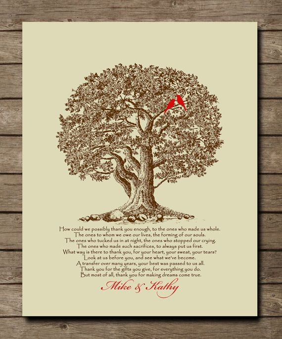 wedding tree gift for parents of bride groom appreciation gift for