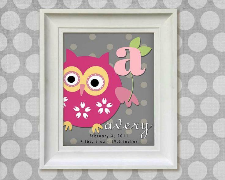 Childrens Owl Art Print - Personalized  11x14 Gray Polka Dots Baby Room Decor. $20.95, via Etsy.
