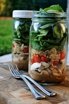 Make your own Salad Shaker and save it for a few days-The most important part of the layering is making sure the dressing and the spinach (or whatever 'leaf' you choose) don't touch. As long as they stay separate, these salads can be made up to 4 days in advance and will stay fresh in the fridge with a lid on. This is one of my tricks to eating salad everyday for lunch at work. I make a few jars on Sunday night and just grab one to bring to work everyday. When you're ready to eat, just shake it !