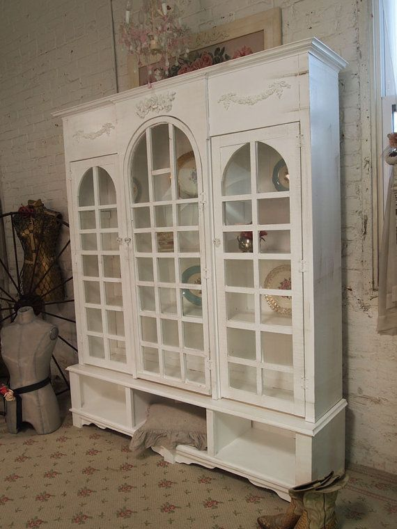 Painted cottage shabby white farmhouse china cabinet bookcase ch276