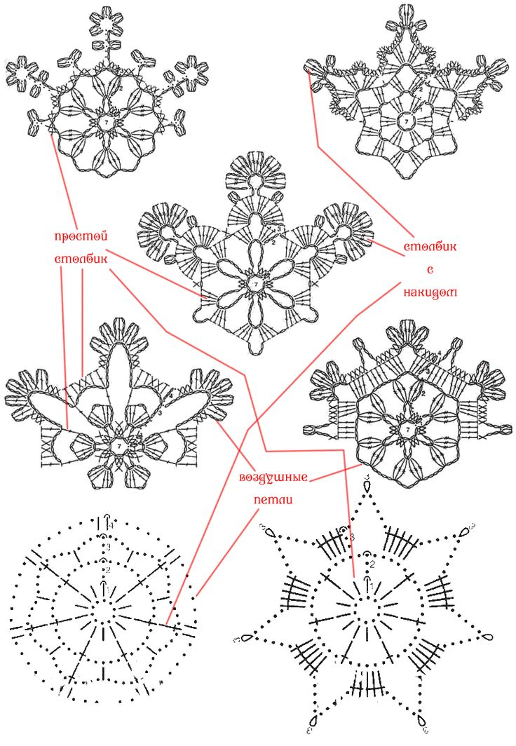 Вязание крючком схемы снежинок 84