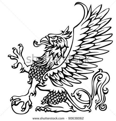 Heraldry griffin.Hand drawing outline griffin,black colored. by Milen , via ShutterStock