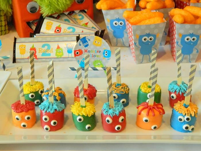 CUTE monster marshmallow pops at a Monster Bash via Kara's Party Ideas KarasPartyIdeas.com #monsterparty #monsterbash #monsterpops #monstermarshmallows