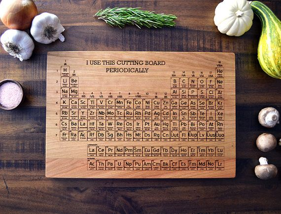 Periodic table engraved wood cutting board science graduation gift - Periodic table chopping board ...
