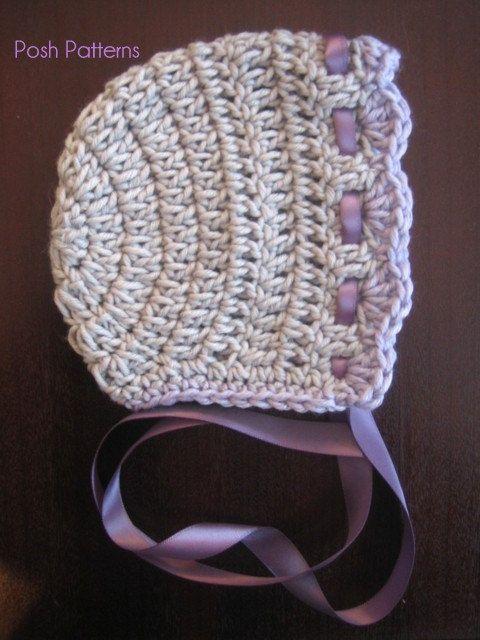 Crochet Baby Bonnet Pattern Free : Crochet PATTERN - Vintage Baby Bonnet Crochet Hat Pattern ...