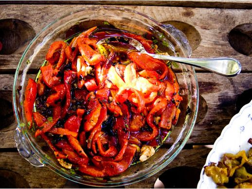 Roasted Marinated Red Peppers with Capers | Recipe