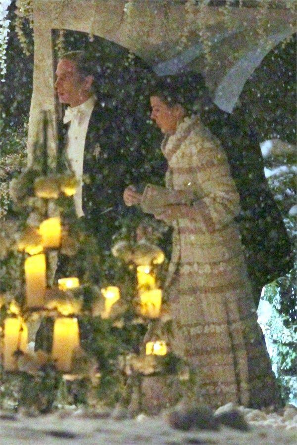Princess Caroline of Monaco attends the religious wedding ceremony of son Andrea Casiraghi and Tatiana Santo Domingo in Gstaad, Switzerland 2/1/2014