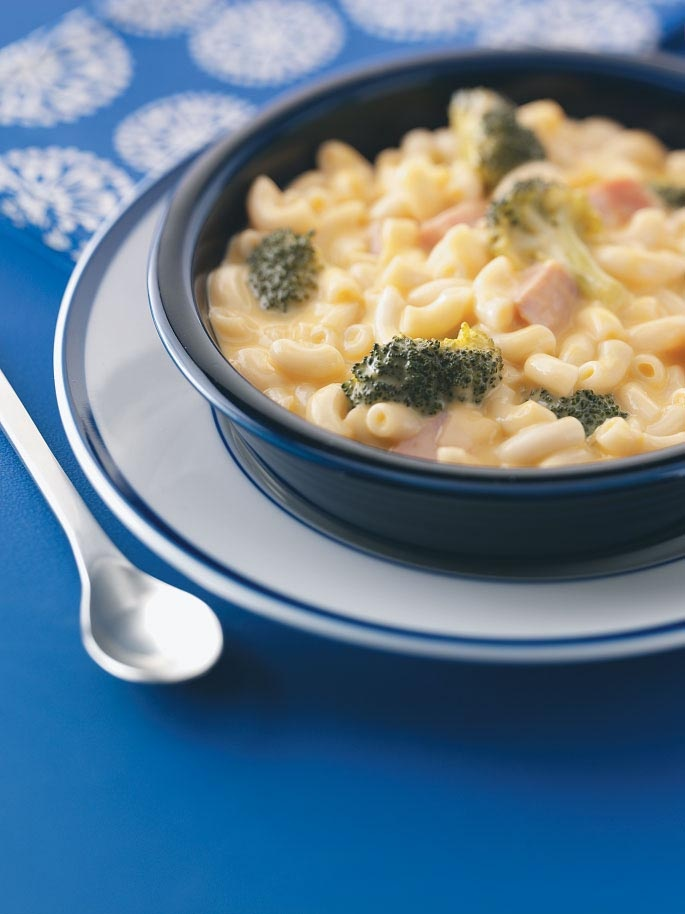 Mac and Cheese soup. Start with a box of mac and cheese...