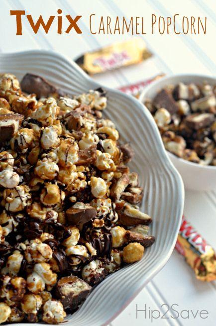 Twix Caramel Popcorn Recipe Hip2Save   Baking   Pinterest