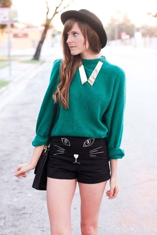 Cat shorts? Cozy sweater? Yes, please!