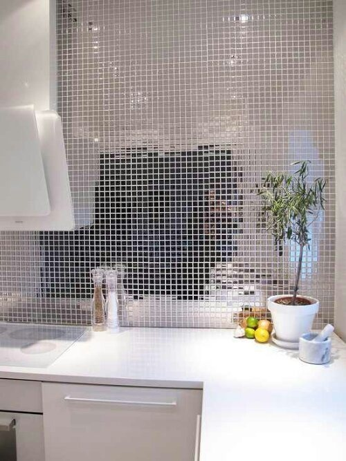 silver mirror tile backsplash interior design pinterest