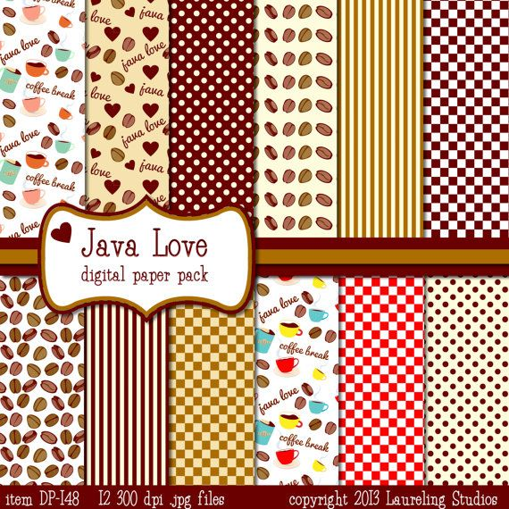 Coffee themed digital paper printable scrapbook coffee for Themed printer paper