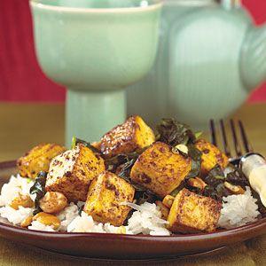 Pan-Fried Tofu with Coconut Rice | MyRecipes.com