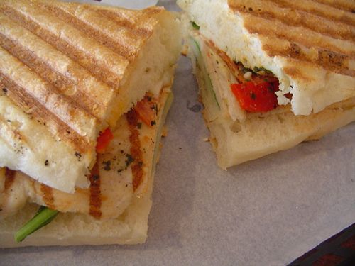 ... chicken panini with gruyere tarragon and artichoke spread italian
