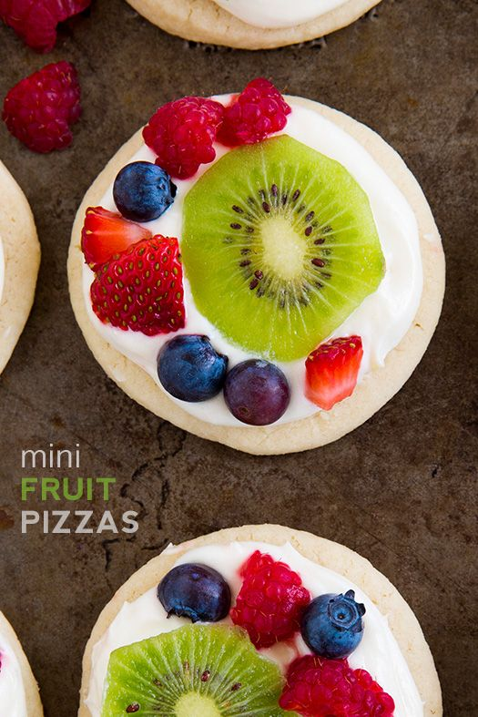 Mini Fruit Pizzas with Lemon Cream Cheese Frosting
