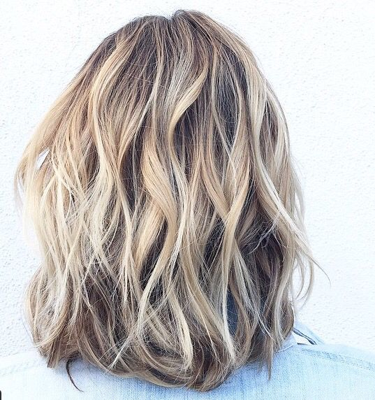 Golden blonde hair with brown