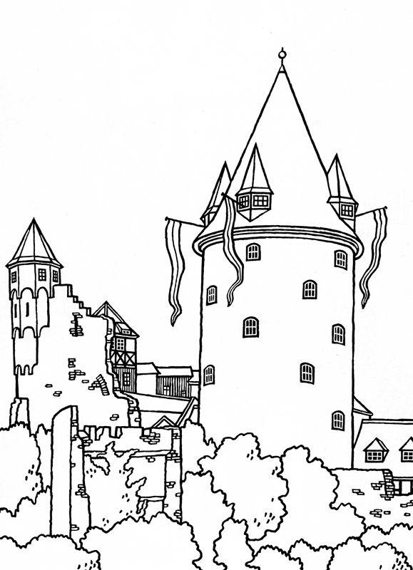 замок рисунки кирпичный
