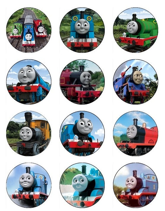 This is a photo of Hilaire Free Printable Thomas the Train Cup Cake Toppers