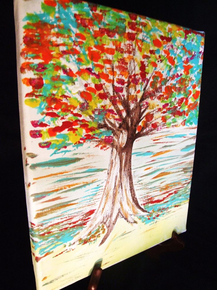 Painting for home decor texturized tree on canvas acrylic for Unique canvas ideas
