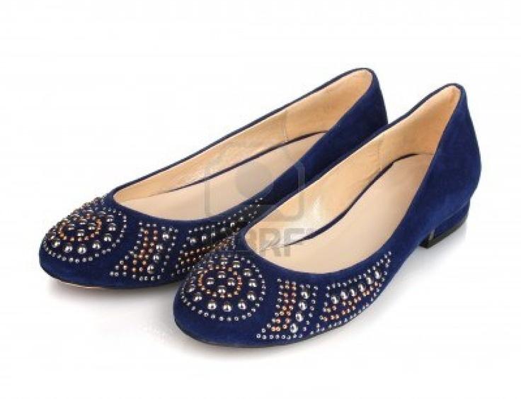 Elegant Blue Flat Shoes For Women..