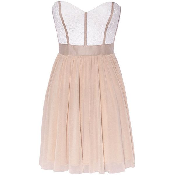 Elise Ryan Nude Party Dress ($78) found on Polyvore; glitzyangel.co.uk