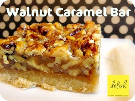 walnut caramel bar - delicious!   delish desserts   Pinterest