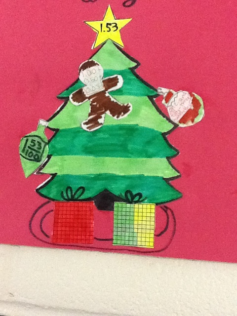 Make a christmas tree using mixed fractions decimals word form